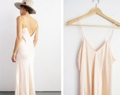 Blush Pink Silk Slip Dress // Small 1970's Low Back Slip Dress // Women's Vintage Clothing