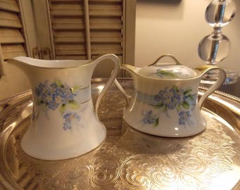 VINTAGE CREAM and SUGAR with Cover,  Floral Hand Painted Cottage Style China Cream and Sugar ,Tableware China
