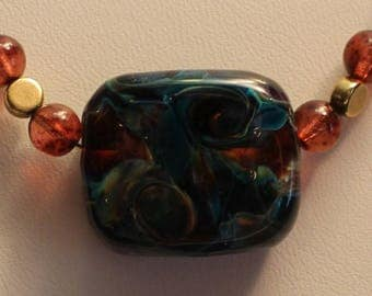 Simple clean flamework bead necklace