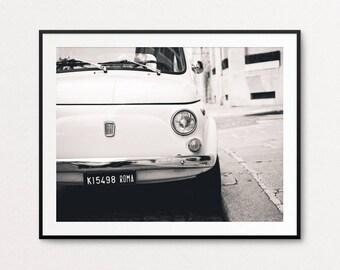 White Fiat Photo - Paris Photography, Fine Art Photography, Paris Print, Paris Decor, Home Decor, Vintage Car Photo, Fiat Wall Art