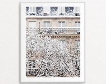 Snowfall in Paris Photo - Paris Photography, Paris Print, Paris Bedroom Decor, Paris Home Decor, Paris Decor, Paris Wall Art