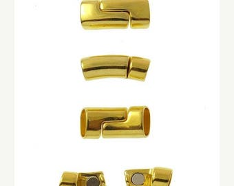 On Sale NOW 25%OFF Very Strong Curved Magnetic Clasp For ALL 10x6mm Licorice Leather Cords - Gold - C1889 - Qty 1