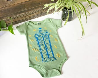 Dr Who Tardis infant one piece bodysuit-Unisex-Organic Cotton Royal Apparel-hops-tardis-dr who-the doctor-baby-baby cloth