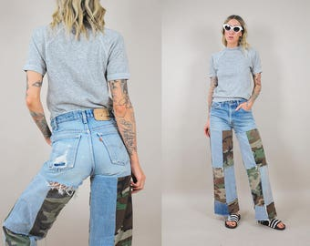 70's Levi's Camo Patched Jeans