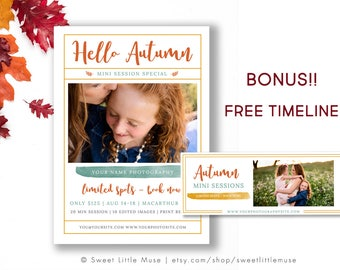Fall Mini Session Template - Autumn mini sessions template - photography marketing template - Facebook Timeline Template