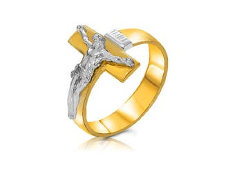 14k solid two tone men's crucifix ring. religious men's ring.