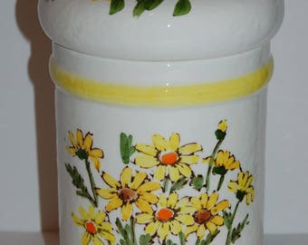 1976 VINTAGE Retro Sears Roebuck and Co. CANISTER and Lid Japan Yellow DAISY
