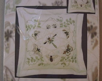 Dragonfly, Butterfly, Ladybug, Bumblebee, Candamar Designs Candlewicking Embroidery Pillow Kit Titled Garden Harmony Pillow