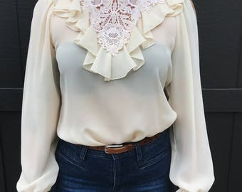 70's Ivory Ruffle Long Sleeved Blouse