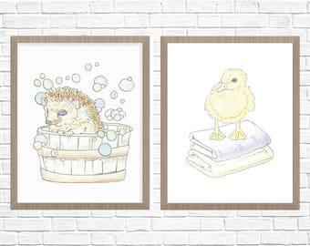 Woodland Animal Nursery Printable Art // Hand Drawn Kids Bathroom Wall Art