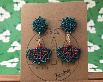 Teal and Red Beaded Huichol Inspired Abanico Earrings