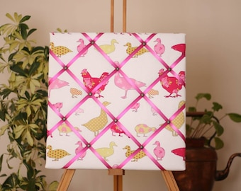 Handmade Fabric Noticeboard- Chickens & Ducks