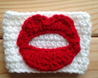 Lips cup cozy, crochet cup cozy, crochet lips, cup cozy, cup cover,