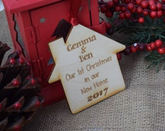Personalised Engraved 1st Christmas in our New Home Wooden Laser Tree Decoration