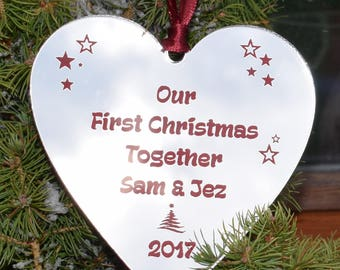 Personalised Our First Christmas together hanging heart Christmas Tree Dec