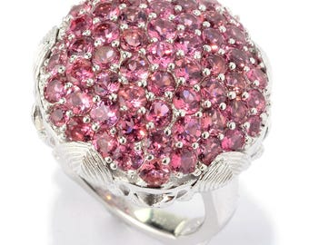 Dallas Prince Sterling Silver 3.75ctw Pink Turmaline Cluster Flower Ring SZ 6,7