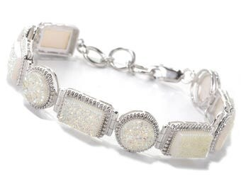 Sterling Silver 5ctw Opal Drusy Rectangular & Round Toggle Bracelet SZ 8