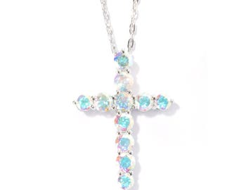 "Sterling Silver 3.13ctw Opal Topaz Cross Pendant 1.12""L With 18"" Chain"