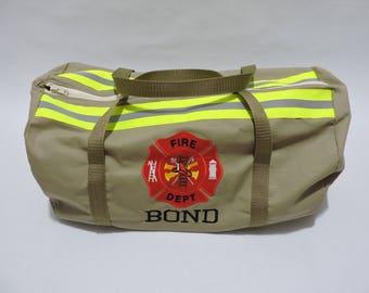 Firefighter Duffle bag tan,Firefighter gift, tan bunker gear look, FDD100, firefighter graduation gift, Christmas gift,firefighter tote