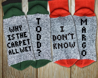 "Couples Socks Holiday Set ""Why Is The Carpet All Wet Todd - I Don't Know Margo"" Unisex Thermal Crew Socks for Christmas, Ugly Sweater Party"
