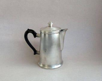 Metal vintage Soviet kettle Nickel retro tea pot Vintage Soviet kitchen storage Farmhouse Soviet milk pot Soviet cottage jug Coffee kettle