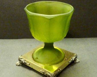Frosted Green Compote- Raised Grape Design- Metal and iron claw footed stand