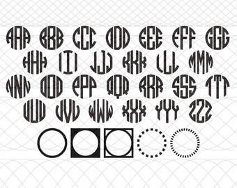 Circle (3 Letter) Monogram Alphabet With Frames SVG and DXF Cut Files for Silhouette Cameo/Portrait and Cricut Explore DIY Craft Cutters