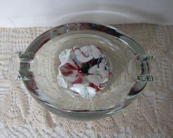 Vintage MURANO Venetian ItalIan Art Glass Floral Ashtray Paperweight