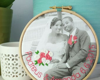 Second Cotton Anniversary gift, personalised photo embroidery, anniversary gift, wedding gift