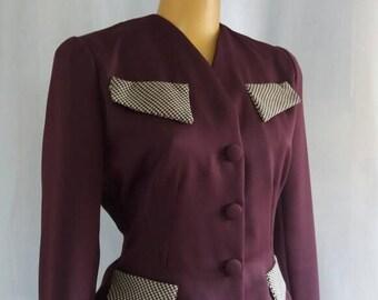 Great suit nipped waist eggplant gabardine waist 70 cm