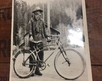 Original Antique Photo Bearded Man with Pipe On Bike Oregon Bicycle