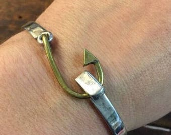 Sterling Silver Fish Hook Bangle Bracelet Unique Beach Nautical Jewelry