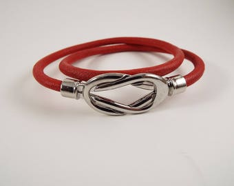 Red Leather Bolo Bracelet Cuff Silver Stainless Magnetic Closure
