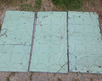 """3 pieces Antique panel 2x4 Texas Stamped pressed ceiling tin metal square pattern 24""""x48"""" Salvaged from 1890's business  24 square feet"""