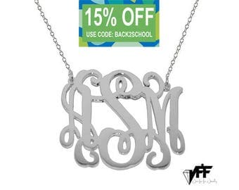 "Any initial necklace - Personalize Silver Monogram Necklace 2"" sterling silver .925 silver"