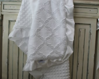 White Embossed Lattice and White Minky Dot Baby Blanket with White Satin Trim - Baby Girl or Boy, Crib Bedding, Christening, Baptism