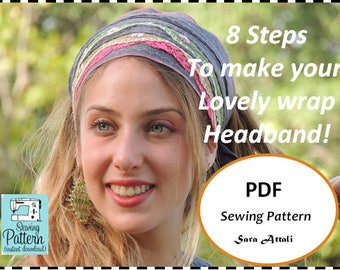 How To Sew Your Wrap Headband Bandana Tichel Pattern Hair Snood Head Covering PATTERN Jewish Headcovering Scarf Bandana Apron