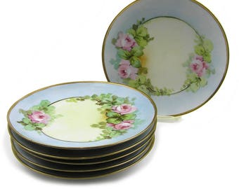 Vintage 1900s Porcelain Luncheon Plates Hand Painted Roses H & Co. Bavaria