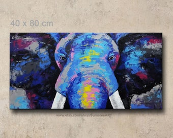40 x 80 cm, Wall decor elephant painting on canvas