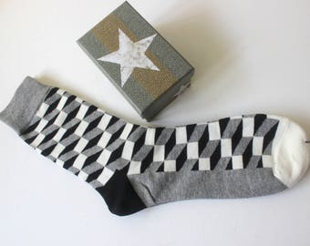 Socks, black and white socks,geometric design