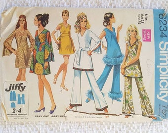 60s Vintage Retro Hippi Dress Mini Dress Tunic and Bell Bottom Pants Sewing Pattern Simplicity 8234 Miss Size 12 Jiffy Cut Counted Complete