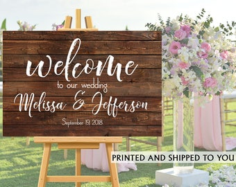Welcome to Our Wedding Sign -Rustic Wedding Sign- Reception Sign Printed Wedding Ceremony Sign, Bridal Shower Sign, Foam Board Sign