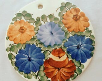 Vintage Blue and Brown Floral Hand-Painted Polish Pottery Trivet