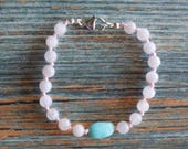 """7"""" Through Personal Growth Healing Gemstone Bracelet Knotted on Nylon with Sterling Silver Findings Healing Crystals, Infused with Intention"""