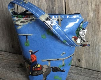 Insulated baby bottle bag,thermal bag, bottle warmer in blue cowboys and indian oilcloth