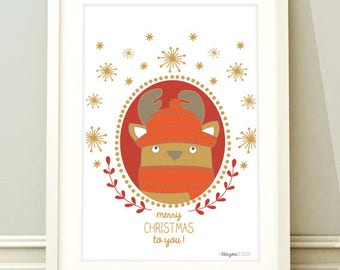 Christmas paper - Card little reindeer-simple printed on recycled paper card