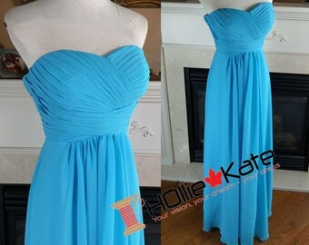 Sky blue bridesmaid dress, malibu long bridesmaid dress, long chiffon dress