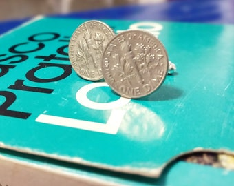 cufflinks with 1 american dime coin