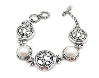 Sterling Silver Freshwater Pearl Bali Bracelet