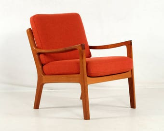 easy chair, teakwood, Ole Wanscher, Poul Jeppesen, vintage, new wool cover, red